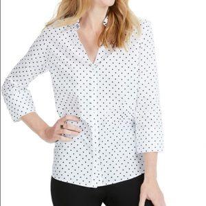 Wrinkle Free Fitted Button Up polka dot blouse